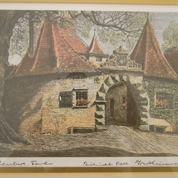 Vintage German Ernst Geissendorfer Village Cottages Artwork