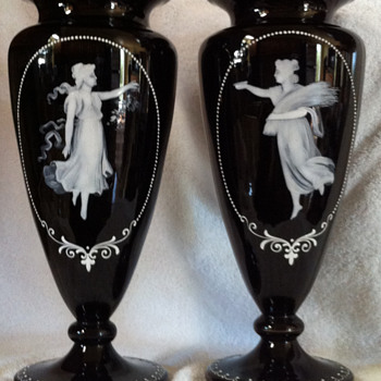 Pair of Black Mary Gregory Vases - Art Glass