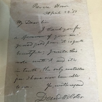 Daniel Webster signed note to the Revere House