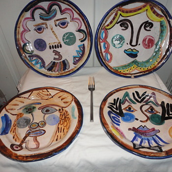 Pottery Plates Picasso Style - Art Pottery