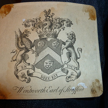 Antique Wentworth Earl of Strafford Bookplate - Paper