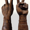 "#32 ~ 17"" High Signed Hand-Carved Peace Sign with exceptional details"