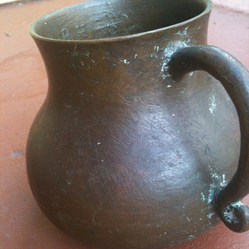 "LARGE 6""BRONZE MUG WITH SCRIPT INSIDE LIP/ R.H. EVERLASTING LIFE IN GREEK"