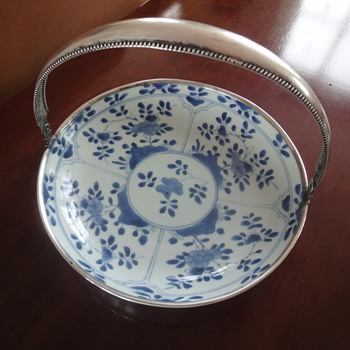 Antique blue bowl with silver handle - Art Pottery