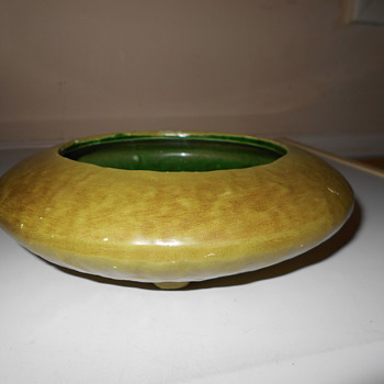 Cool Flying Saucer Art Pottery Matte Green Footed Bowl ?