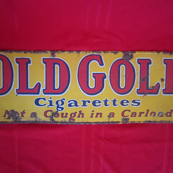 Antique Porcelain Old Gold Cigarettes Sign Advertisement Not a Cough In a Carload MFG by Lorillard Co. - Advertising