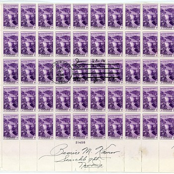 Full Sheet Boulder Dam Stamps Boulder City 1st Day PM Lee Center Stamped - Stamps