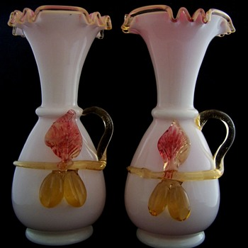 Delightful set of Stevens Williams Applied Milk Glass Vases with Pink Encased Glass