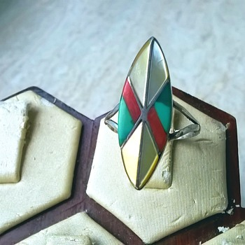 Navajo Sterling Ring Signed Teme', Antique Market Find $5.00