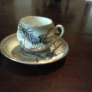 Japanes Tea cup and saucer with hidden Geisha girl in cup - Asian
