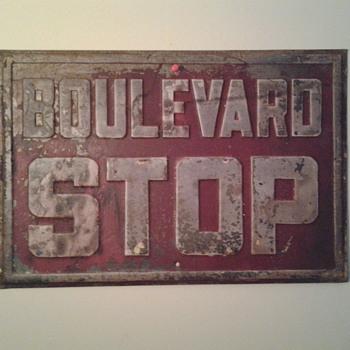 Boulevard Stop sign circa 1930s - Signs