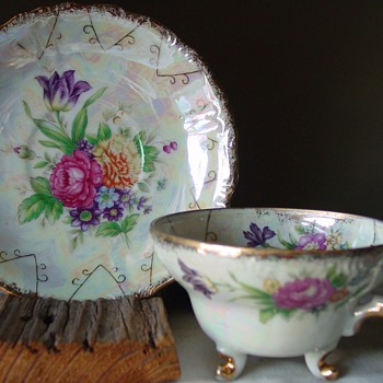 Flowers on opalescent finsh Cup and saucer ~ Unidentified - China and Dinnerware