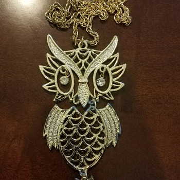 Grandmother's Costume Jewelry Owl Necklace  - Costume Jewelry