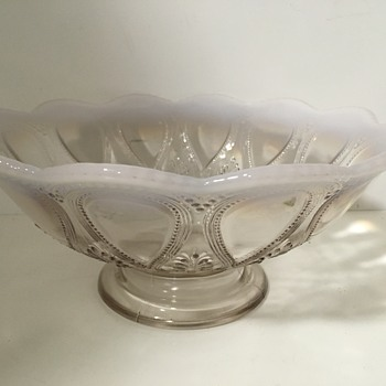 Scalloped Edge Milk Glass Bowl - Glassware