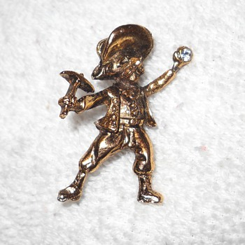 SIGNED FIGURAL PROSPECTOR PIN - Costume Jewelry