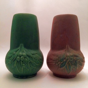 "Early McCoy Earthenware ""Stovepipe"" Vases - Pottery"