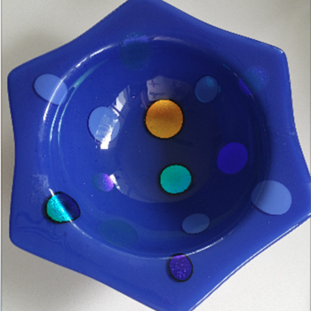 Art Glass Dichroic Blue Fused Bowl