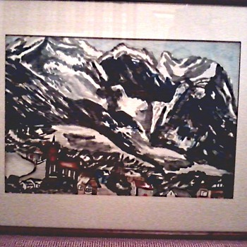 Interesting Watercolor /Signed Johanna Van Breeman /Titled  Garmisch-Partenkirchen, Germany/ Circa 1937 - Visual Art