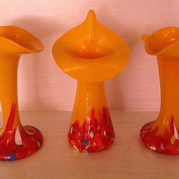 Three Czech Tango glass vases with spatter bases