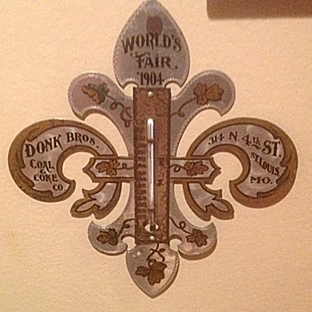 1904 World's Fair Donk Bros. thermometer - Advertising