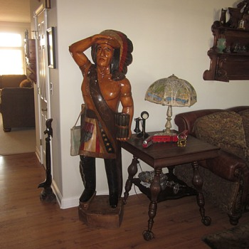 Antique 6 Foot Cigar Indian Statue