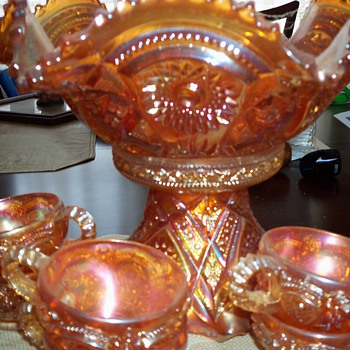 Carnival Pressed Glass Iridescent Glass Punchbowl - Glassware