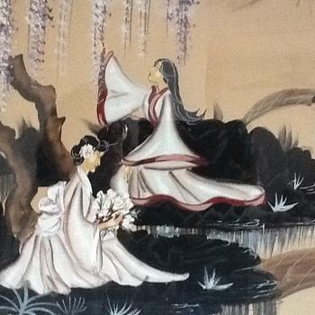 Zara ellwood japanise painting with wood frame. - Visual Art