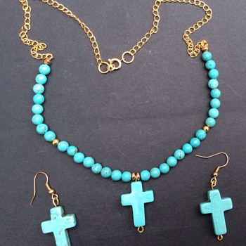 Vintage turquoise necklace and earrings - Fine Jewelry