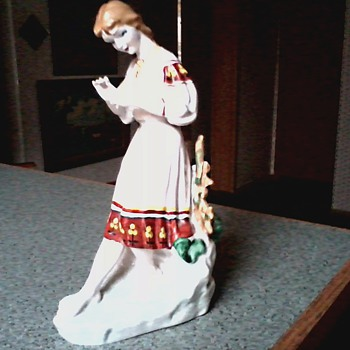 "Russian Porcelain Figurine / Polonne Factory Ukraine "" Loves Me- Loves Me Not"" / Circa 1970 - Art Pottery"