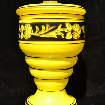 decorated yellow jar