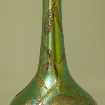ART NOUVEAU LOETZ IRIDESCENT GLASS VASE Sterling Overlay with Swan Amongst Water Lilies /Bulrushes, CIRCA1900