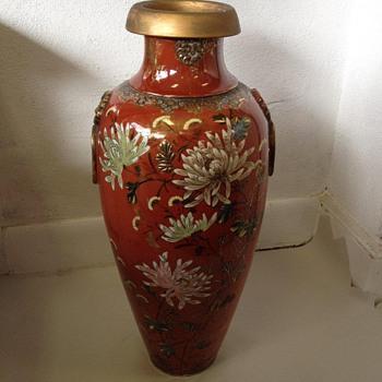 """24"""" Meiji Era Japanese Satsuma Baluster Vase w/ Chrysanthemums"""