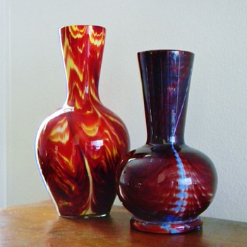 Victorian Bohemian Unknown Red Swirl Cased Vases