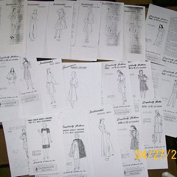 1940&#039;s 12 1/2 Inch Mannequin doll Patterns  - Sewing