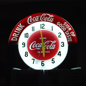 Electric Neon Clock Company...1950&#039;s Coca-Cola Marquee Neon Clock - Coca-Cola
