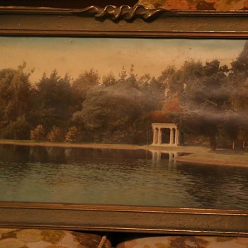 Large Hand-colored Photo of a Lakeside Garden