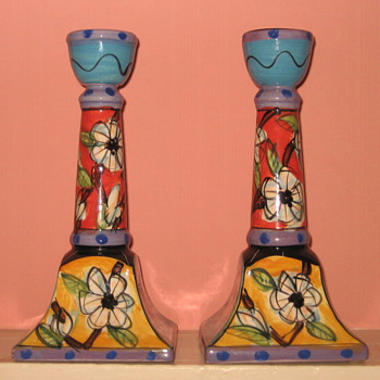 "Hand-Painted Ceramic Candlestick Holders   They are signed & numbered on the bottom & Titled ""The Mirage"" - Art Pottery"