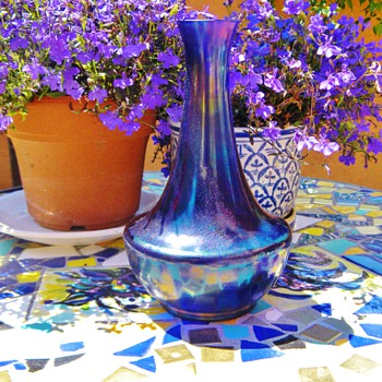 Art Nouveau Kralik Purple Cobalt Glatt Iridescent Vase  - Art Glass