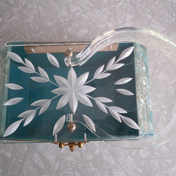 Lucite Handbag Aqua with Pearl and Gold Vain   - Bags
