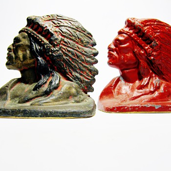 1930's INDIAN HEAD BOOKENDS /THROWBACK WEEKEND