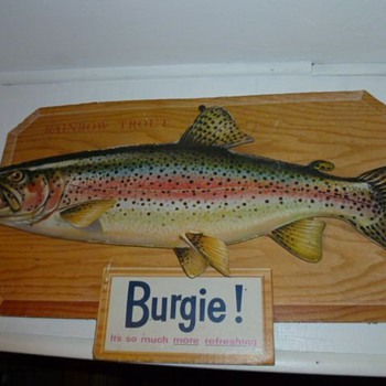 "Burgie ""Rainbow Trout"" cardboard sign - Breweriana"