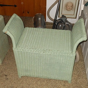 Vintage Wicker Hamper with Arms - Furniture