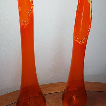 Pair of Orange Glass Vases