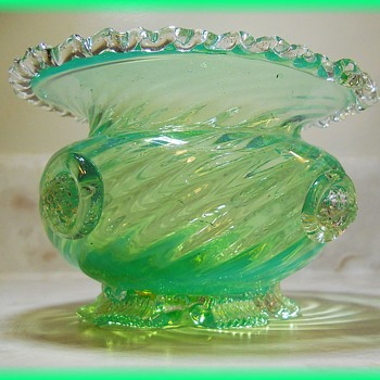 MURANO VENETIAN Art Glass Vase  w/Prunts - Art Glass