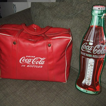 1950's Coca-Cola thermometer and Vinyl cooler bag - Coca-Cola