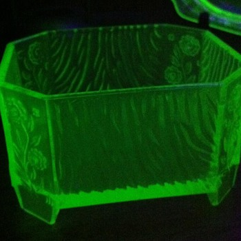 Deco Vaseline Dresser Jar - Glassware