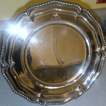 "Early 11"" 644 gram London sterling platter -Unknown maker???"
