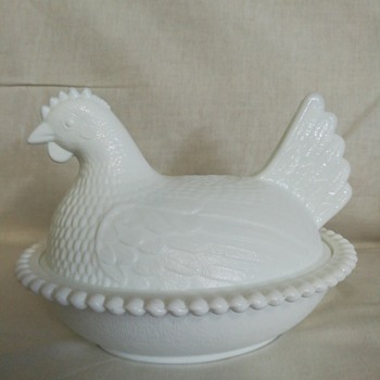 Milk glass hen on nest dish by Indiana Glass