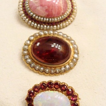 Antique Cabochon Brooches