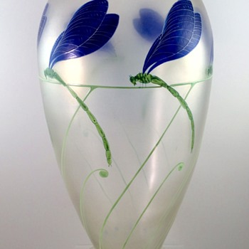 "Rare Fritz Heckert ""Kristallcypern"" vase enameled by Dr. Willy Meitzen, ca. 1900"